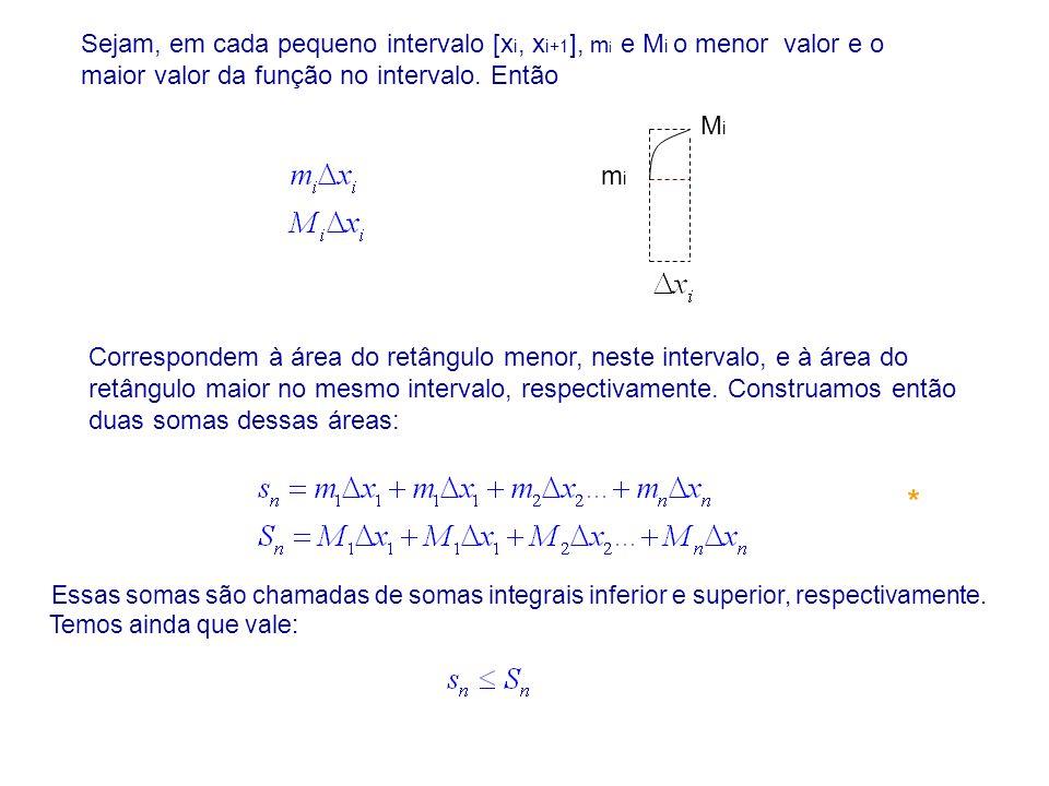 Sejam, em cada pequeno intervalo [xi, xi+1], mi e Mi o menor valor e o maior valor da função no intervalo. Então